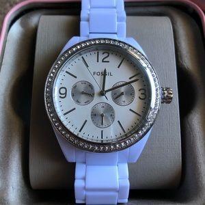 Fossil Watch Women's White & Silver